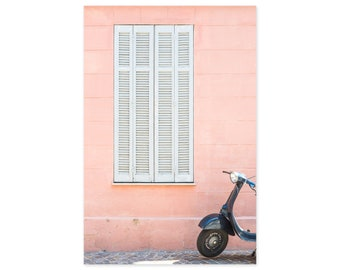 France Photography Art Print - Pink Wall and Scooter - French Home Decor - Europe Wall Art - South of France
