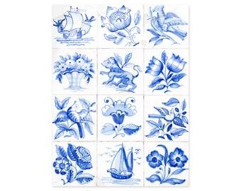 Portuguese Tiles Art Prints - Lisbon Azulejos - Blue and White Wall Art - Portugal Travel Photography - Rustic Wall Decor