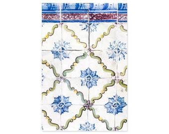 Portuguese Tiles Art Prints - Lisbon Azulejos - Blue Floral Wall Art - Portugal Travel Photography - Rustic Wall Decor