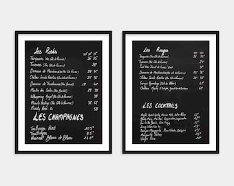 French Chalkboard Wine Menus Print Set of 2 - France Photography - Home Bar or Kitchen Wall Decor - Canvas Wall Art - Gift for Wine Lover