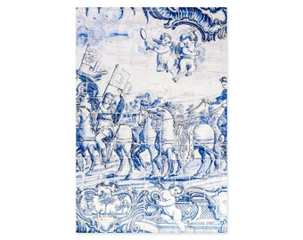 Portuguese Tiles Art Prints - Blue and White Azulejos Wall Art - Portugal Travel Photography - Rustic Wall Decor