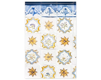 Portuguese Tiles Art Prints - Yellow and Blue Azulejos - Floral Wall Art - Lisbon Portugal Travel Photography - Rustic Wall Decor