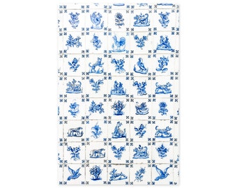Portuguese Tiles Art Prints - Blue and White Azulejos - Kitchen Wall Art - Portugal Travel Photography - Rustic Wall Decor