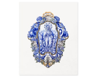 Portugal Travel Photography - Virgin Mary - Blue and White Portuguese Tiles - Religious Wall Art - Azulejos Art Prints