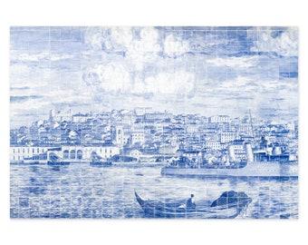 Lisbon Azulejos Art Prints - Blue and White Portuguese Tiles Wall Art - Portugal Travel Photography - Rustic Wall Decor