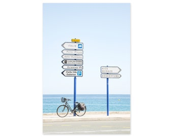 France Travel Photography Art Print - French Riviera Street Signs - Vertical Wall Art - Gift for Francophiles - Gift for Cyclist