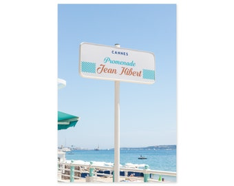 Cannes France Art Print - French Riviera Travel Photography - Côte d'Azur Street Sign - Vertical Wall Art - Gift for Francophile