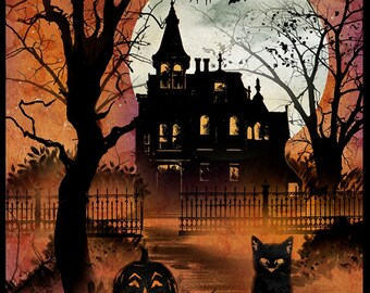 "Halloween Graveyard Skeleton Rats Witchcraft 100/% Cotton Fabric Panel 34.5/""x43/"""