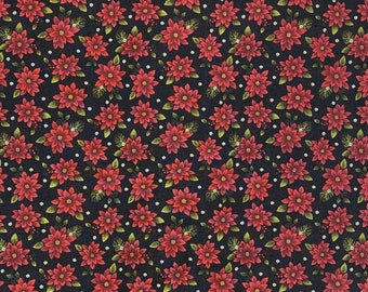 In the Beginning Fabrics 1 yard A Poinsettia Winter Red Floral Christmas Print on Tonal Green Vine Print Background