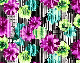 100/% Cotton ST104-SE2 Steel In Bloom by Cotton Floral Garden Seafoam