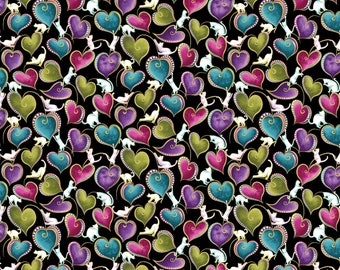 Cat Catitide Swirling Hearts Metallic Cotton  Fabric by the 1//2 Yard #4204MB-09