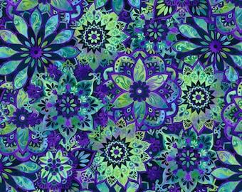 By 1//2 Yard Celebration Midnight Crystal Black Snowflakes Gold M Benartex Fabric