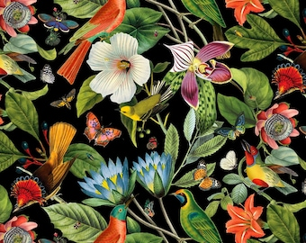 Birds Fabric Branch Fabric Wings Fabric Cotton Fabric Moth Fabric Bright Fabric Fabric by the yard Flowers Fabric Colorful Fabric