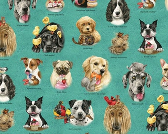 Cute Dogs in Chairs Cotton Fabric Robert Kaufman Fabric Sold BTHY By the Half Yd