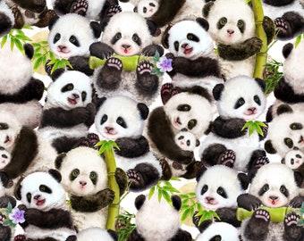 Panda Bears Paintbrush Studio 100/% Cotton Fabric Born Free