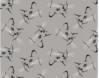 Blank Quilting - Furrever Friends - Cat Face Outlines - Gray - Fabric by the Yard 9079-90