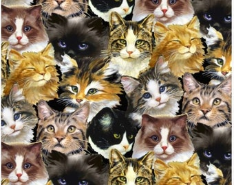 Blank Quilting - Furrever Friends - Cat Collage - Gray - Fabric by the Yard 9078-90