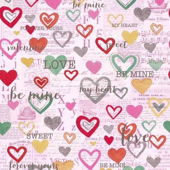 Clothworks Vintage Valentine Pink Hearts On Newsprint Fabric Etsy