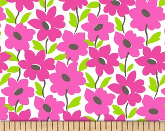 Windham - Mojito - Tropical Garden Floral - Raspberry - Fabric by the Yard 41227-5
