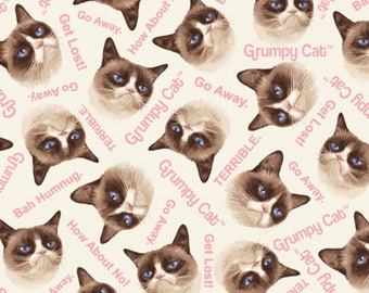 Marcus Bros - Grumpy Cat Cotton - Grumpy Cat Allover - Cream - Fabric by the Yard 9722-0126