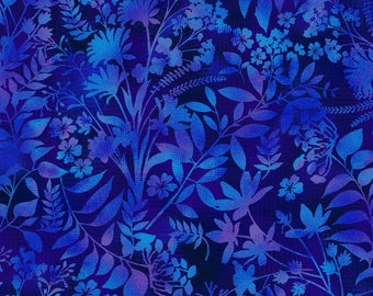 Studio E - Aflutter - Wildflower Silhouette - Indigo - Fabric by the Yard 3912S-77