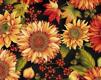 Henry Glass - Autumn Album - Sunflower - Black - Fabric by the Yard 2018-99