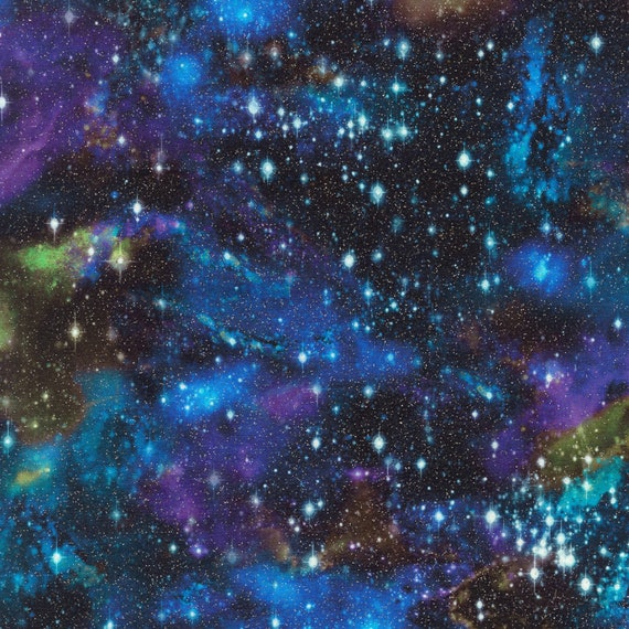 5 STRATOSPHERE GOLD METALLIC STARS SPACE NIGHT SKY QUILTING FABRIC NO