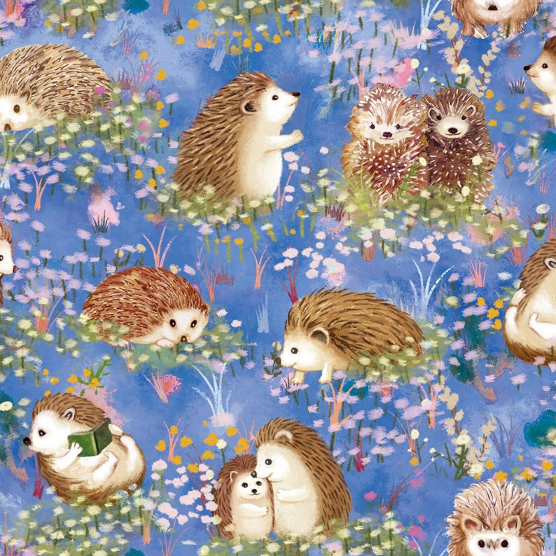 Paintbrush Studio - Hedgehog Village - Hedgehogs - Blue - Cotton Fabric by the Yard or Select Length 120-13742 photo