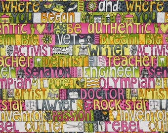 Hoffman - Heart & Soul Sisters - Word Stripe - Daisy - Fabric by the Yard M3402-463