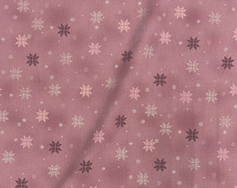 Stof - Christmas is Near - Braided Stars w/ Metallic Silver - Rose - Cotton Fabric by the Yard or Select Length ST4598-423