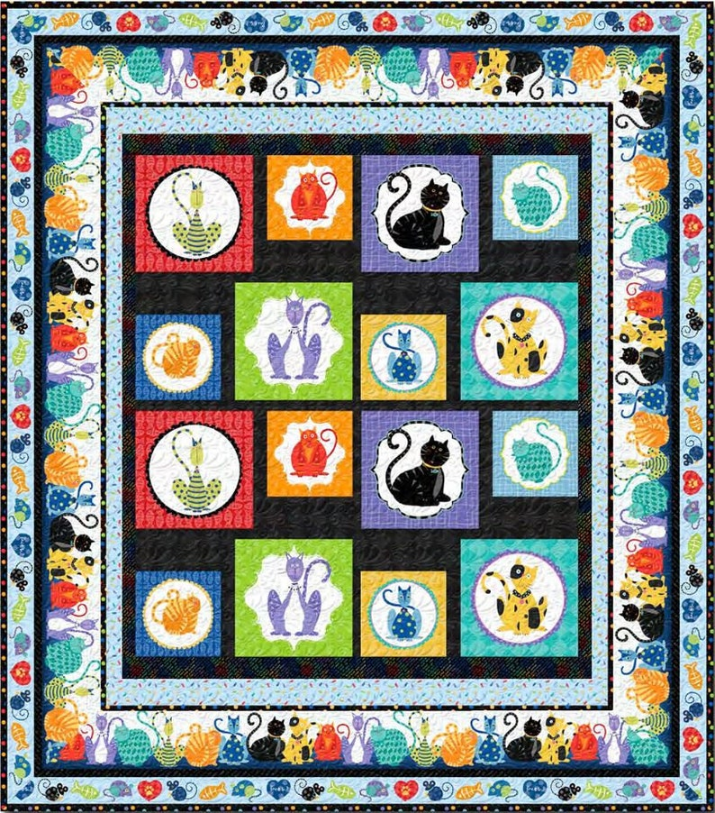 64.5 x 73.5 Cat Block Panel Quilt Quilt Kit Feeline Good - AAFQK-447 includes fabric for top of quilt and binding