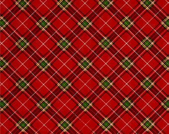 Fabriquilt - 2017 Diagonal Plaid - Christmas/Holiday - Fabric by the yard or select cut 103-70202