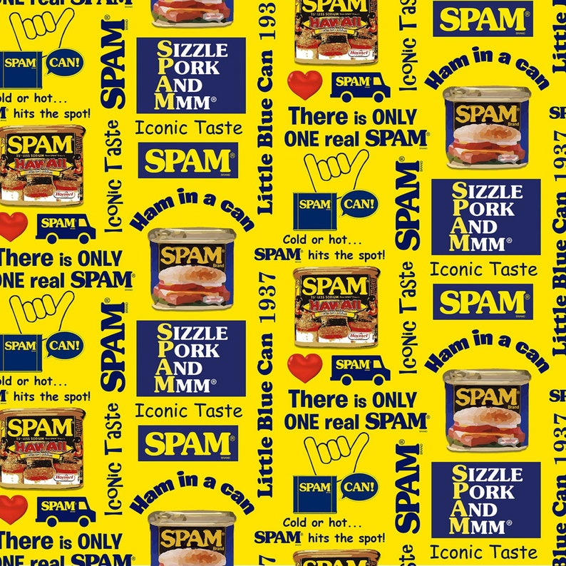 Michael Miller - SPAM - Spam Print - Digital - Yellow - Cotton Fabric by the Yard or Select Length DDC8933-YELL photo