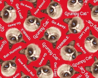 Marcus Bros - Grumpy Cat Cotton - Grumpy Cat Allover - Red - Fabric by the Yard 9722-0160