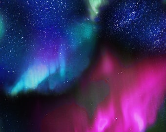 Timeless Treasures - Northern Lights - Aurora Sky - Night - Fabric by the Yard or Select Length C6792-NIGHT