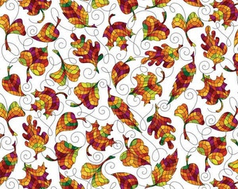 Benartex - Autumn Breeze - Stained Glass Leaf - White - Fabric by the Yard 6038B-09