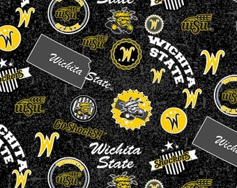 Sykel Enterprises - College Cottons - NCAA Wichita State Shockers Home State Cotton - Yellow/Black - Cotton Fabric by the Yard WSU-1208