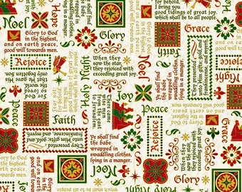 Quilting Treasures - The Nativity - Nativity Words - Digital Print - Cream - Cotton Fabric by the Yard or Select Length 28271-E