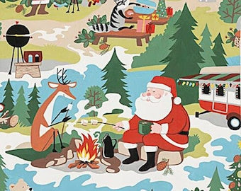 Alexander Henry - Christmas Time - Santa Goes Glamping - Multi/Bright - Cotton Fabric by the Yard or Select Length 8843-AR