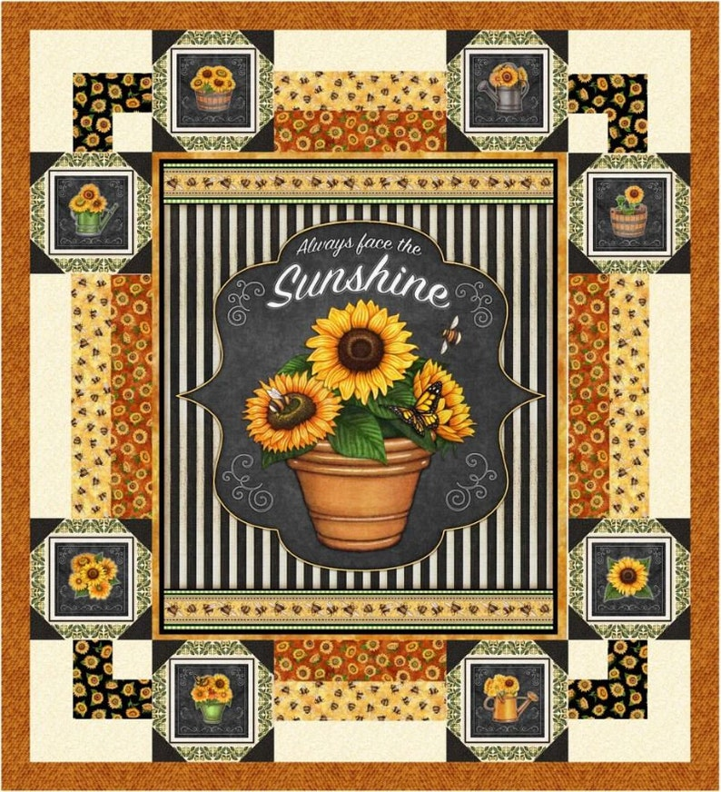 Quilting Treasures AAFQK-421 Includes patternfabric for quilt top and binding Gather Around 50 x 55 Sunflower WallThrow Quilt Kit
