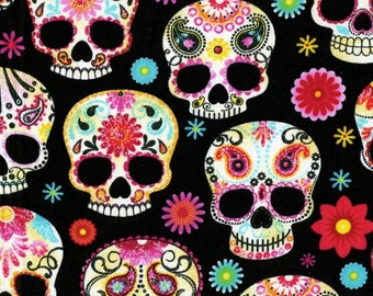 Timeless Treasures - Day of the Dead - Skulls - Black - Cotton Fabric by the Yard C4139-BLK