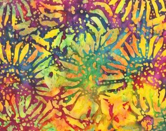 Anthology - BeColourful by Jacqueline De Jonge - Sunflower Batik - Multi - Cotton Fabric by the Yard or Select Length BC34Q-X