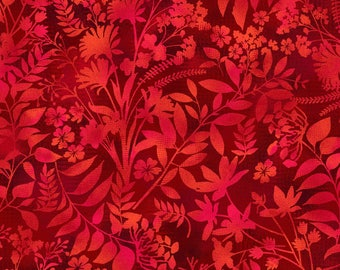 Studio E - Aflutter - Wildflower Silhouette - Scarlet - Fabric by the Yard 3912S-88