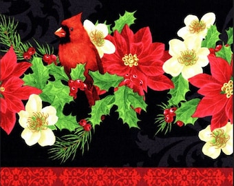 Wilmington Prints - Deck the Halls - Poinettia/Cardinal Repeating Stripe - Multi - Fabric by the Yard 28082-973