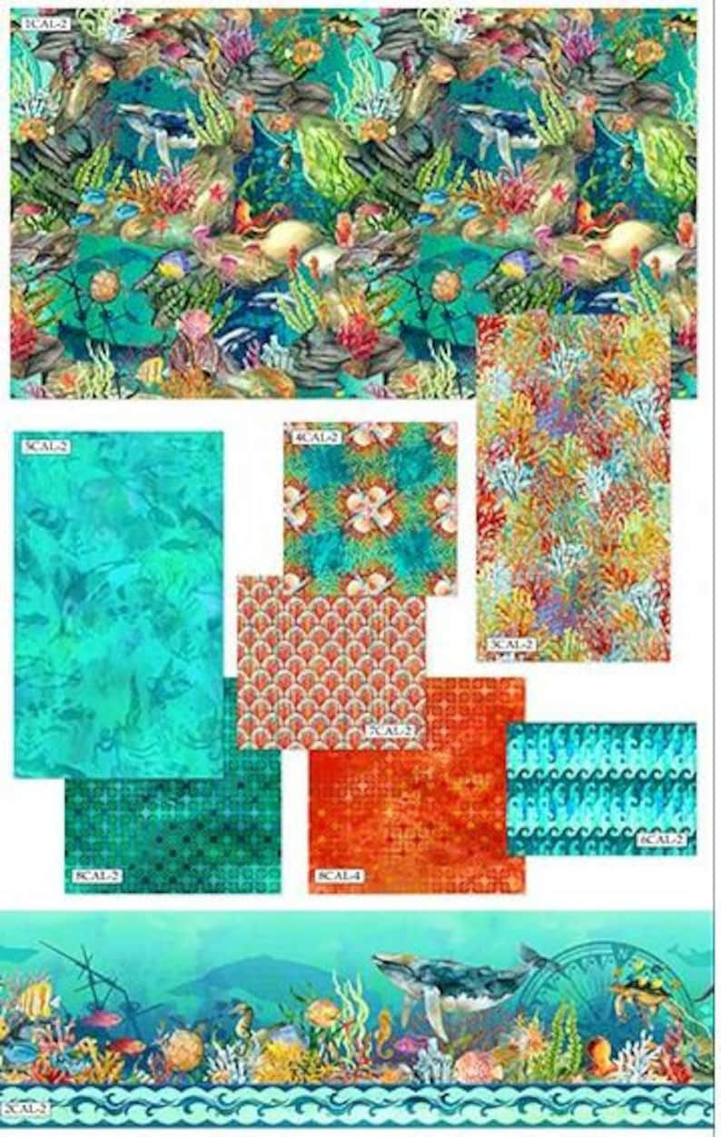 In The Beginning includes fabric for top of quilt /& binding 76 x 93 - AAFQK-181 Teal Calypso Quilt Kit