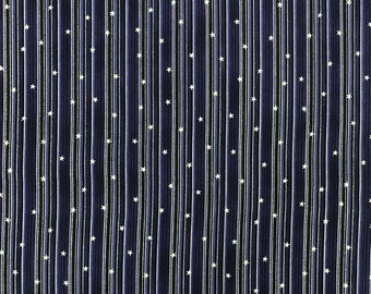 Stof - Christmas is Near - Stars and Stripes w/ Metallic Silver - Blue - Cotton Fabric by the Yard or Select Length ST4598-606
