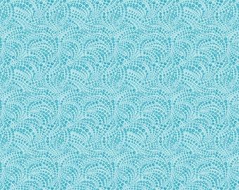 Benartex - Cat-I-Tude - Beaded Swirls - Lt Teal - Fabric by the Yard 4207B-52