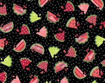 Maywood Studio - Sprinkle Sunshine - Watermelon Patch - Black - Fabric by the Yard 8251M-J