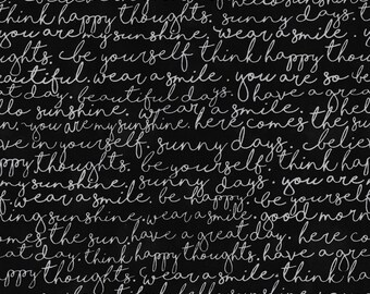 Timeless Treasures - You Are My Sunshine - Script - Black - Cotton Fabric by the Yard or Select Length C5495-BLK