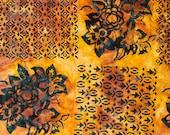 Northcott - Banyan Batik - Baralla - Floral Geometric Blocks - Midnight Gold - Cotton Fabric by the Yard 80315-53